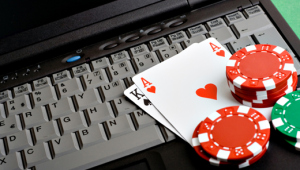 Picture of laptop with cards and chips on it