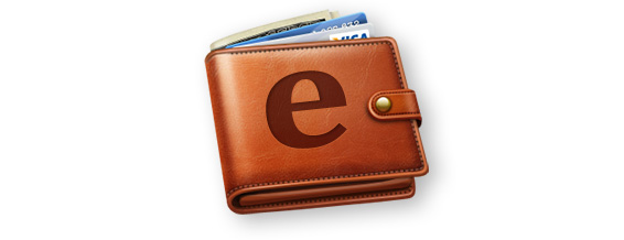 Wallet with letter e