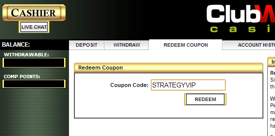 club world casino redeem coupon